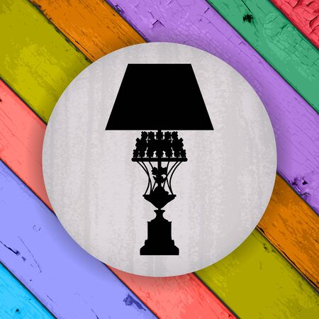 tungsten: silhouette of luxury lamp on a scratched grey badge on a Colorful Vector Wooden Planks Background