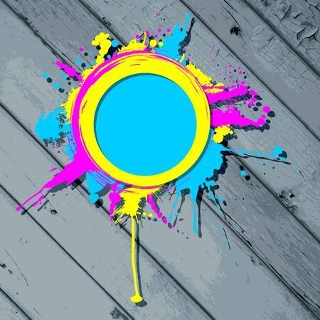 strippad: Cute circular grunge frame on a stripped wooden background  Illustration