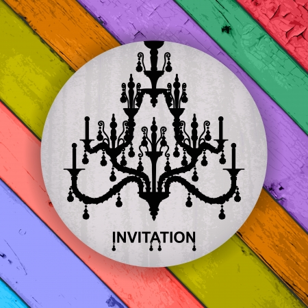 invitation with silhouette of luxury chandelier Vector