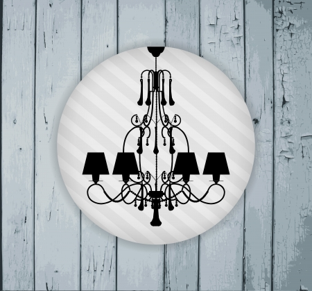 irradiate:  silhouette of luxury chandelier on a grey painted wooden planks template design of invitation with chandelier