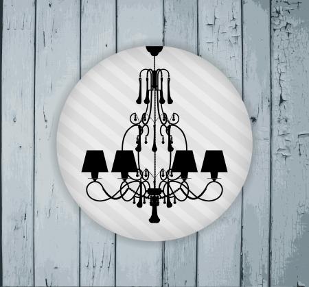 irradiate: silueta de la l�mpara de lujo en un gris pintado tablones de madera  dise�o de plantilla de la invitaci�n con la l�mpara