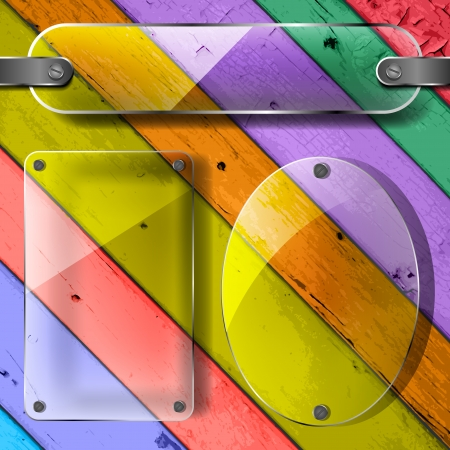 transparency plates on the Colorful Vector Wooden Planks  Vector