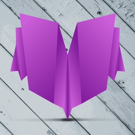 greeting origami card on the Grey painted wooden planks  Vector