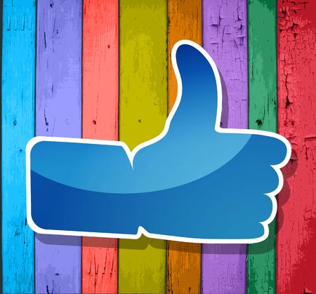 Like  symbol on a colorful wooden striped background  Vector