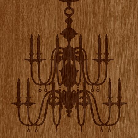 luxury chandelier silhouette on the wooden background Vector