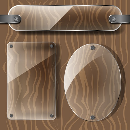 transparency plates on the wooden background  Vector