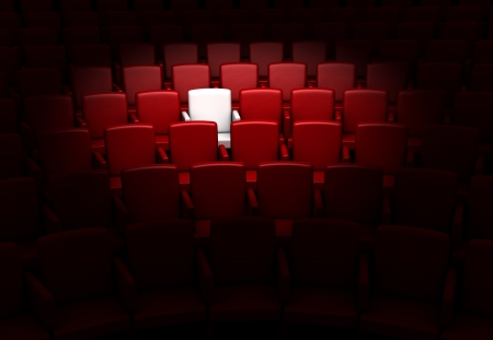exclusive: the auditorium with one reserved seat  Stock Photo