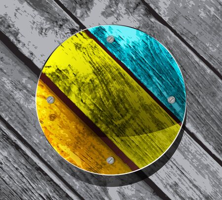 colorful circular plate on the wooden planks background Vector