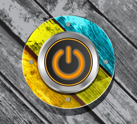 orange power button icon on the colorful wooden striped background Vector