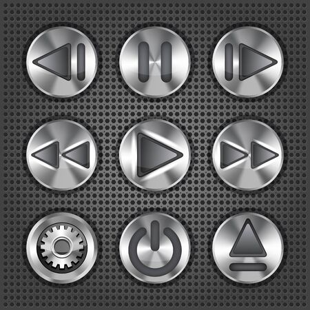 Set of stylish vector multimedia metallic knob buttons Stock Vector - 16664661