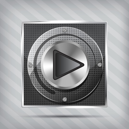 metallic knob with play icon on the striped background  Vector