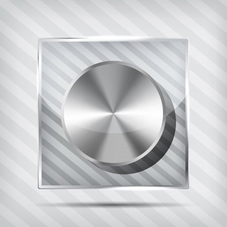 icon with chrome volume knob on the striped background  Stock Vector - 16664656