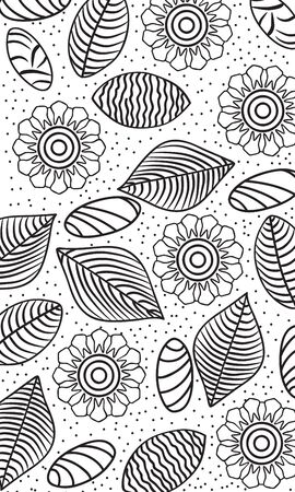 flowers, leaves and stones pattern Vector