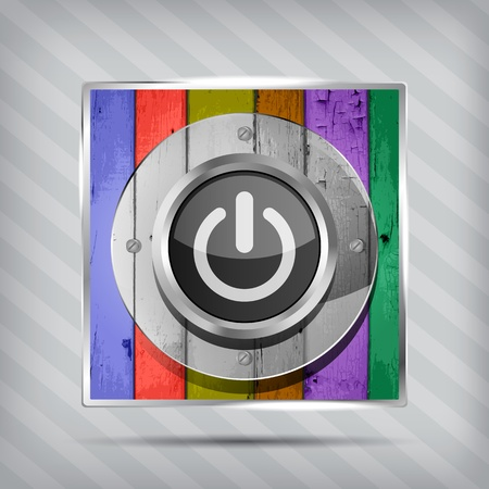 colorful power icon on the striped background  Vector