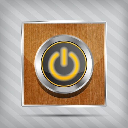 orange power button icon on the wooden background  Vector