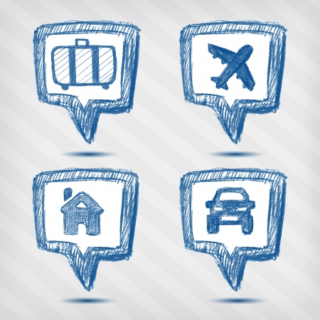 set of travel pointer icons on a striped baclground Vector
