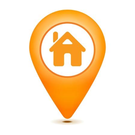 icone maison: ic�ne de pointeur maison sur un fond blanc Illustration