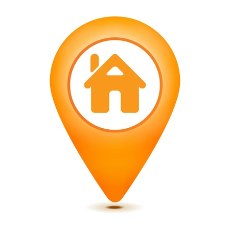 elhelyezkedés: otthon mutató ikon, fehér, háttér Illusztráció