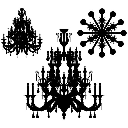 Silhouette of luxury chandelier  Vector