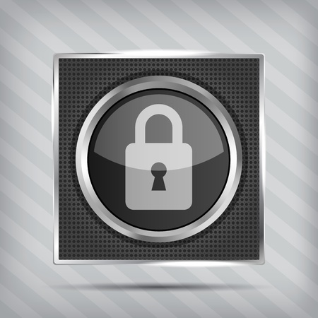 padlock icon on the striped background  Vector