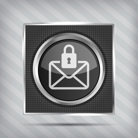 email with padlock button icon on the metallic background  Vector