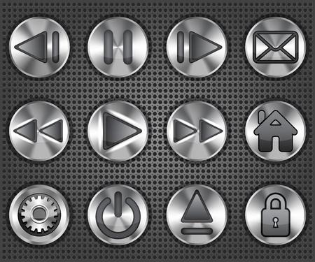 Set of stylish multimedia metallic knob buttons  Vector