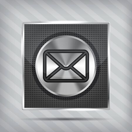 email button icon on the metallic background  Vector