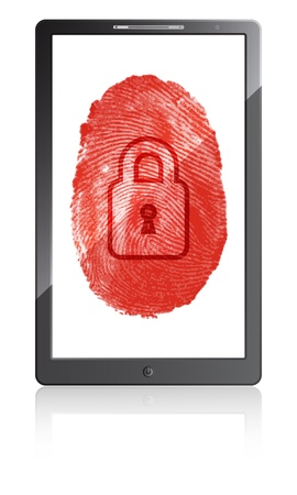 Mobile phone with fingerprint and padlock on a white background  Vector