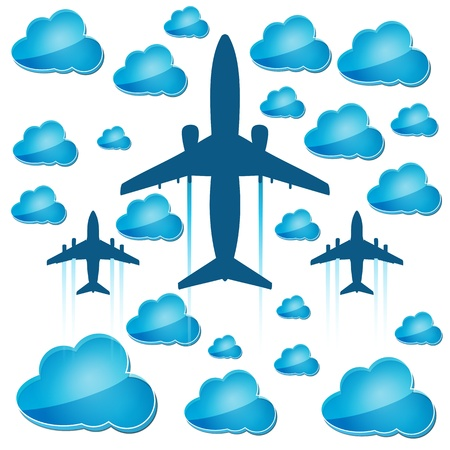 silhouettes of airplanes in the air with blue clouds Stock Vector - 17477190