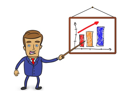 cute businessman pointing at graph on whiteboard  Vector