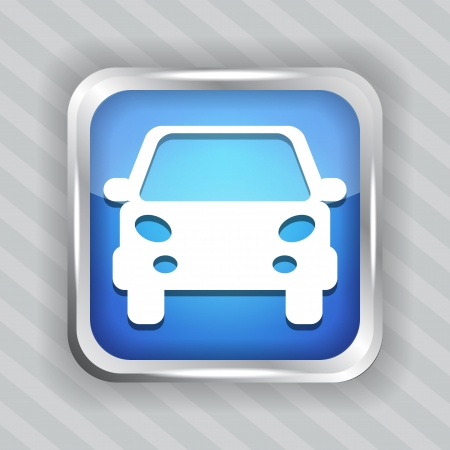 blue car button icon on the striped background Vector