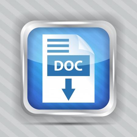 blauwe pictogram pictogram voor het downloaden op een gestreepte achtergrond Vector Illustratie