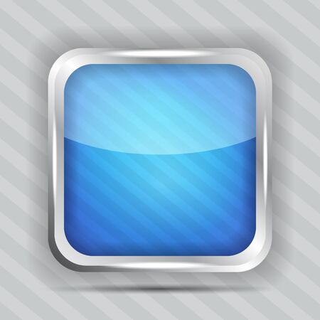 blue glossy icon on the striped background  Vector