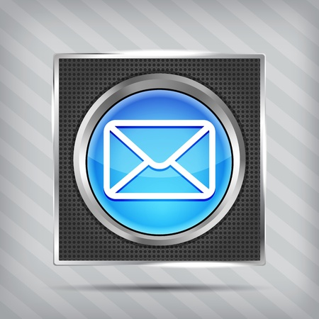 blue email button icon on the mettalic background  Vector