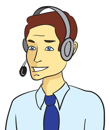 Customer support man talking with headset  Vector