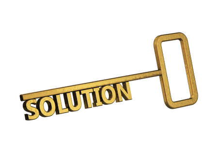 golden key with word solution on a white background Stock Photo - 18683533