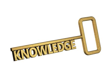 golden key with word knowledge on a white background photo