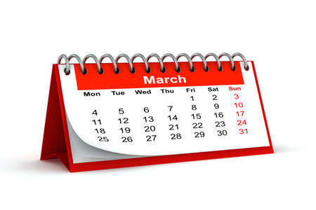 3d red desk paper 2013 year calendar - march month photo