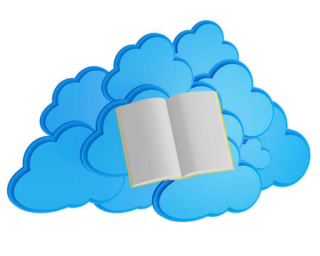 elearn: open book before blue cloud computing icon  e-learning concept  Stock Photo
