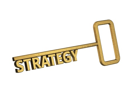 golden key with word strategy on a white background Stock Photo - 18683531