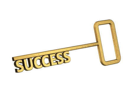 golden key with word success on a white background Stock Photo - 18683527