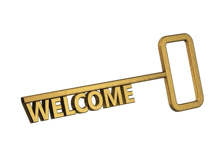 golden key with word welcome on a white background photo