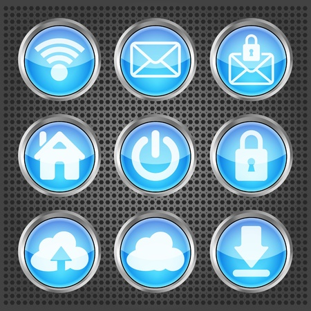 set of blue web icons on a metallic background Vector