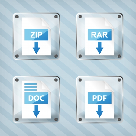 set of glass rar, zip, doc and pdf download icons on a striped background Vector