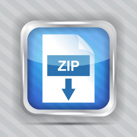 blue zip download icon on a striped background Vector