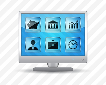 Flat screen monitor with business icons on a striped background Stock Vector - 18861963