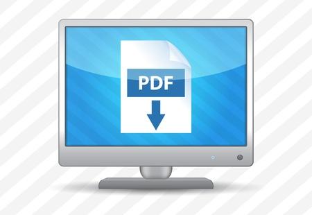 flat screen tv: Televisi�n de pantalla plana con icono de descarga pdf sobre un fondo de rayas