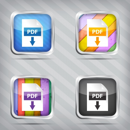 set of pdf download icons on a striped background Vector