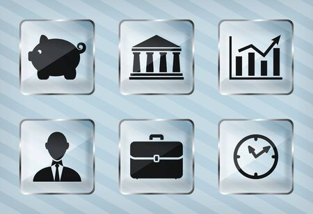 set of transparency business icons on a striped background Vector