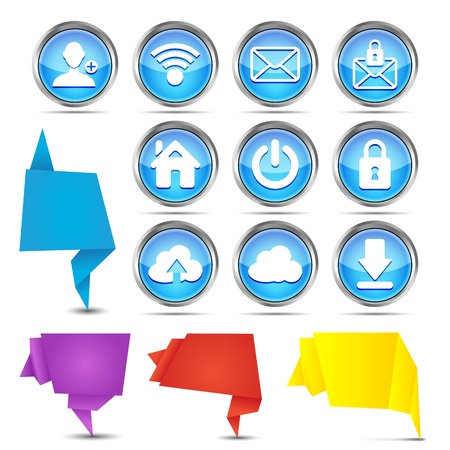 set of origami banners with web icons on a white background Vector